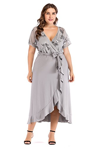 f02f6e8b12b4a ESPRLIA Women's Empire Waist Plus Size Midi Dress (Grey, 14W) by ESPRLIA (