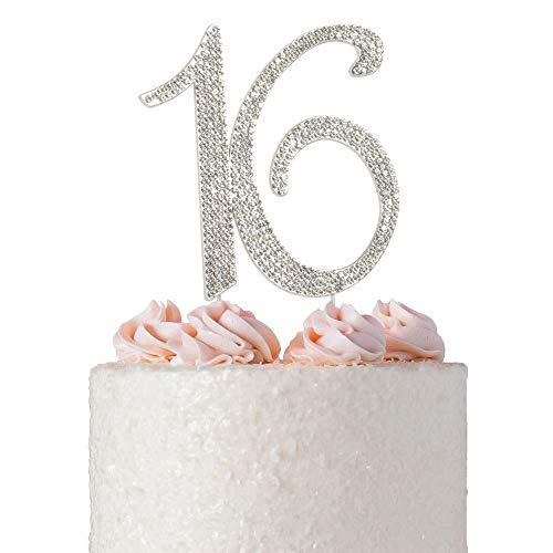 Sweet 16 Cake Topper | Premium Sparkly Crystal Diamond Rhinestones | 16th Birthday Party Decoration Ideas | Quality Metal Alloy | Perfect Keepsake (16 Silver) ()