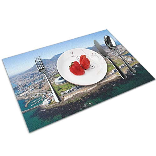 Cape Town, South Africa Placemats for Dining Table Set of 4,Decoration Placemats 4 Pac