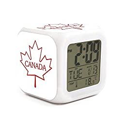 Canada Maple Leaf Alarm Clock Displays Time Date and Temperature Soft Nightlight for Kids Home Office Bedroom Heavy Sleepers