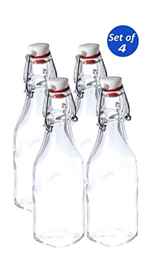 Bormioli Rocco Swing Top Glass Bottles, 8.5 Ounce - Set of 4