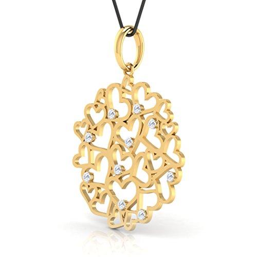 Or blanc 14K 0,1ct tw Round-cut-diamond (IJ   SI) Pendentif