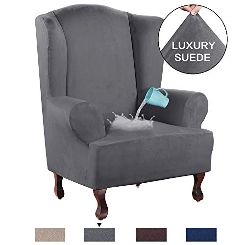 H.VERSAILTEX 1 Piece Sofa Cover Luxurious Suede Fabric Super Stretch Stylish Furniture Slipcover Velvet Plush Wing Back Armchair Slipcover Skid Resistance Water Repellent(Wing Chair,Grey) (Wing Back Chair Leather)