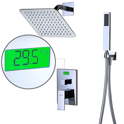 Sumerain Shower Faucet Sets Complete,Pressure Balanced Valve and Shower System Integrated Digital Temperature Reading and (Set Digital Temperature Control System)