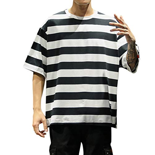 Outique Men's Striped Short-Sleeved top Summer Fashion Striped Short-Sleeved Comfortable Blouse Basic Tees Black ()
