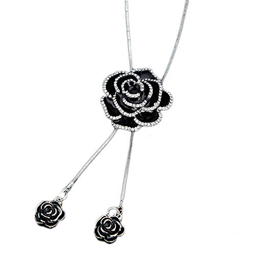 HYMAYX Snowflake Rose Long Necklace Sweater Chain Fashion Chain Rhinestone Flower Pendant Necklace