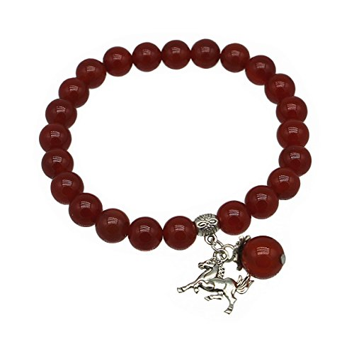 Feng Shui Handmade Chinese Zodiac Red Agate Beads Bracelet and a Gift Pounch with Betterdecor Logo Printed on It (Chinese Horse Stone)