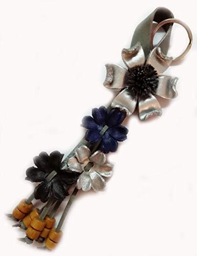 Padee Genuine Leather Silver Flower Keychain Keyring Keyfob Snap Strap for Hanging Handbag Wallet Purse Car Charm Handmade Handcraft Keychain#SNKEY0112 (Silver)