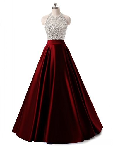 Himoda Women's Long Beading Open Back Prom Dresses Halter Sequined Evening Gowns H037 Burgundy