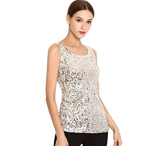 RARITYUS Womens Sequin Metallic Sparkly Cocktail Party Sleeveless Tank Top