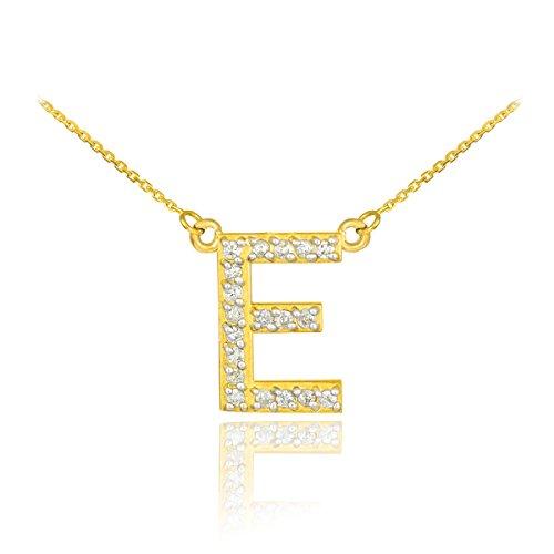 "14 ct 585/1000 Or Initiale ""E"" Diamant Initiale Collier"