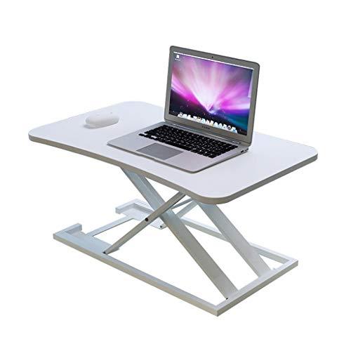XJY Aluminum Standing Computer Desk Desktop Platform Adjustable Home and Office Laptop Riser (White Silver Black) (Color : White)