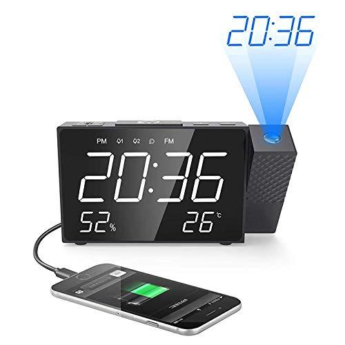 DZXYW Reloj Despertador Proyector Digital Despertador Radio ...