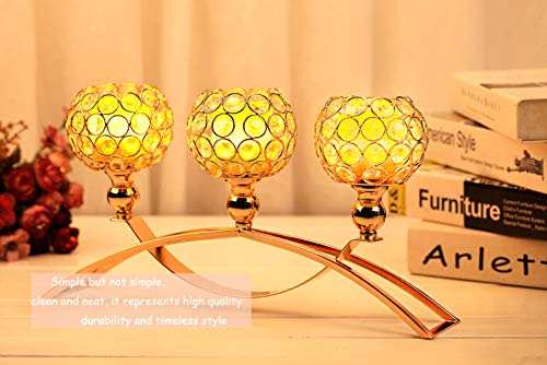 Arched Crystal Candle Gold Holder/Wedding Candlestick 3 Arms Candelabra for Home Decor Palace Candlelight Dinner Romantic Dining Room Coffee Table Decorative Centerpiece or Corner Piece Adornment -