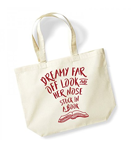 Dreamy Far Off Look and Her Nose Stuck in a Book - Large Canvas Fun Slogan Tote Bag Natural/Red