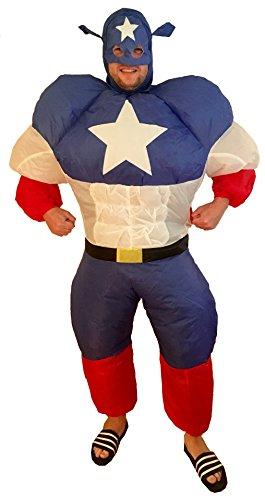 Inflatable Superhero (Mr Puffy's Inflatable America Superhero Adult Fancy Dress Costume)
