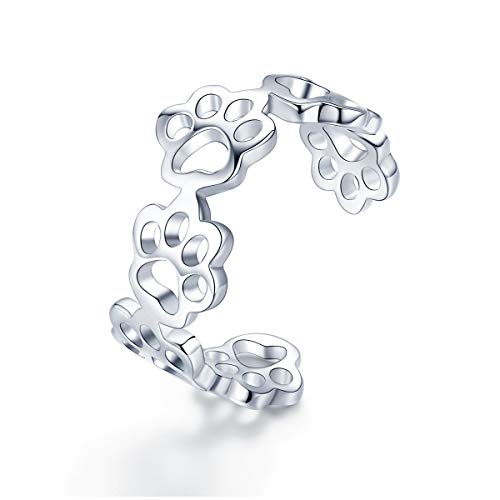 - Sterling Silver Cute Paw Puppy Dog Open Tail Rings Adjustable Engagement Wedding Band Toe Ring for Women Girls