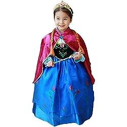Princess Anna Lace Paisley Chiffon Cosplay Costume Play Long Dress for Girls Kids (3T)