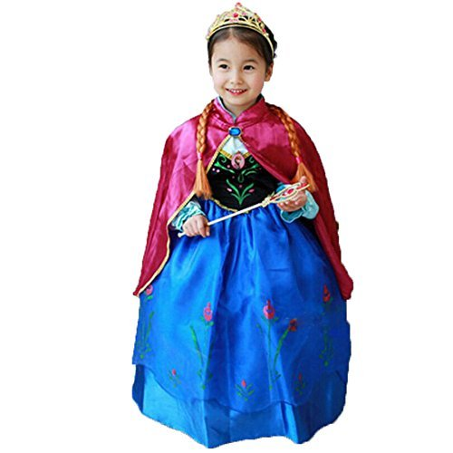 Paisley Costumes Dress (Princess Anna Lace Paisley Chiffon Cosplay Costume Play Long Dress for Girls Kids (3T))