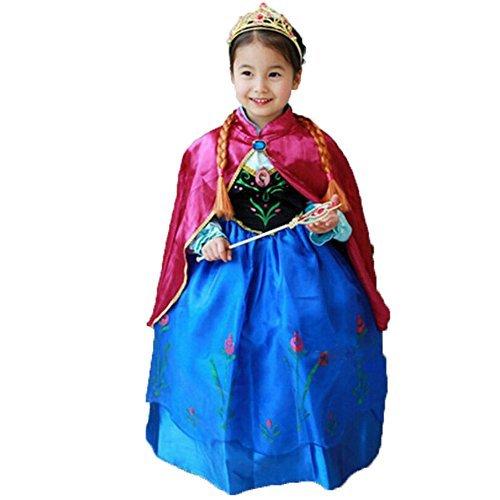 Princess Anna Lace Paisley Chiffon Cosplay Costume Play Long Dress for Girls Kids (3T) ()