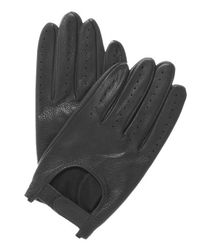 Pratt and Hart Men's Deerskin Leather Driving Gloves Size M Color Black