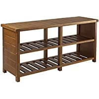 Multipurpose 4 Compartments Wooden Storage Bench
