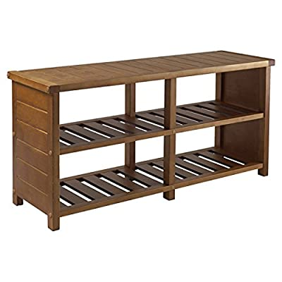 "Multipurpose 4 Compartments Wooden Storage Bench - Entryway bench Number of Storage Compartments: 4 Overall dimension: 18.27"" H x 38.39"" W x 11.81"" D - entryway-furniture-decor, entryway-laundry-room, benches - 4195JlsO0CL. SS400  -"