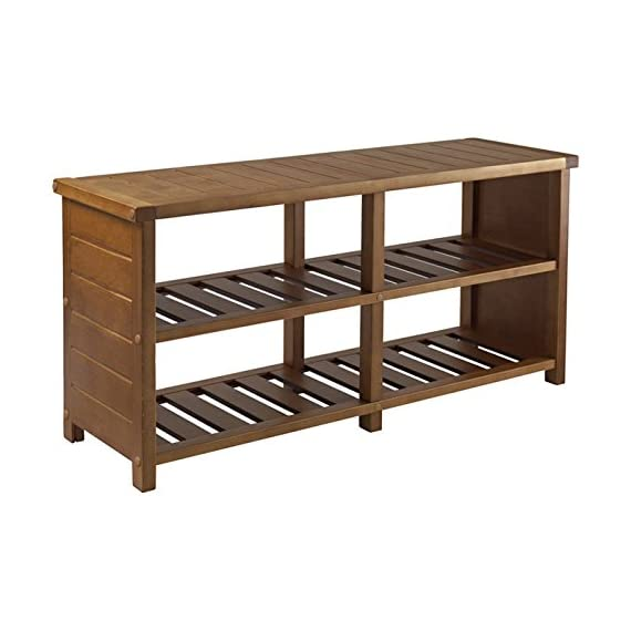 "Multipurpose 4 Compartments Wooden Storage Bench - Entryway bench Number of Storage Compartments: 4 Overall dimension: 18.27"" H x 38.39"" W x 11.81"" D - entryway-furniture-decor, entryway-laundry-room, benches - 4195JlsO0CL. SS570  -"
