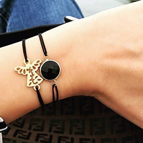 Smilla Brav® Engel Damen Armband Schutzengel Freundschaftsarmband Cute Angel hellgrauGold KN01