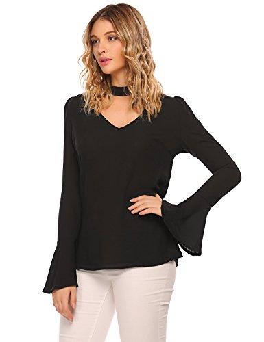 Chiffon Bell Sleeve (Zeagoo Women's Choker V Neck Bell Sleeve Blouse Keyhole Chiffon Tops Shirt Black XXL)