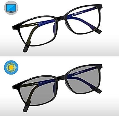 Pixel Lens PHOTOCROMIC Sunny- Gafas para Ordenador, TV, Tablet,Gaming. contra EL CANSANCIO Ocular, Confort Visual, Montura Ligera, CERTIFICADA LUZ Azul ...