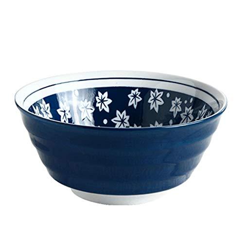 Food utensils Ceramic Ramen Soup Bowl Fruit Salad Bowl 7 Inch Vintage Cutlery (color : Maple Leaf)