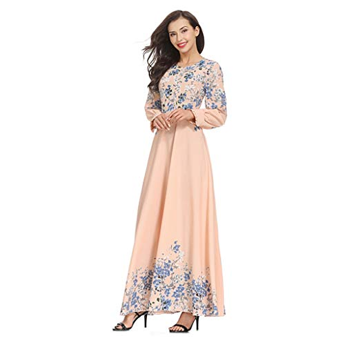 Women Muslim Kaftan Abaya Dress Elegant Floral Printing Summer Casual Flowy Long Maxi Party Cocktail Dresses Pink