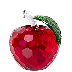 Crystal Home Decoration Red Apple With Leaf