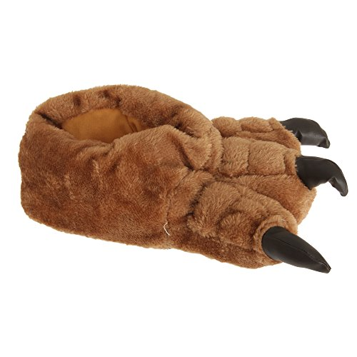 Mens Plush Monster Paw Novelty Slippers (8-9 US) (Brown)
