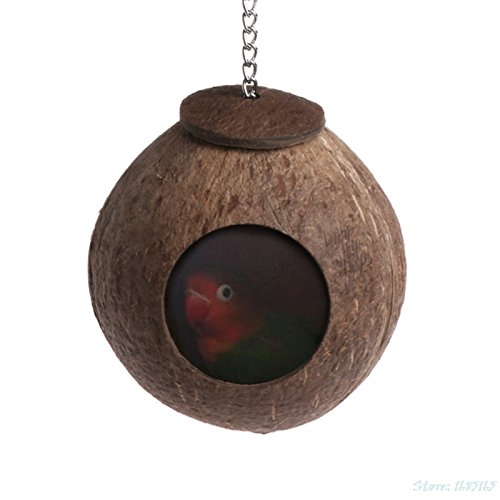 1PC Natural Coconut Shell Bird Nest House Hut Cage Feeder Toy