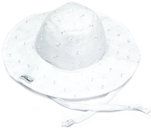Cap Face Happy (Flap Happy Floppy Hat, White Eyelet X Large)