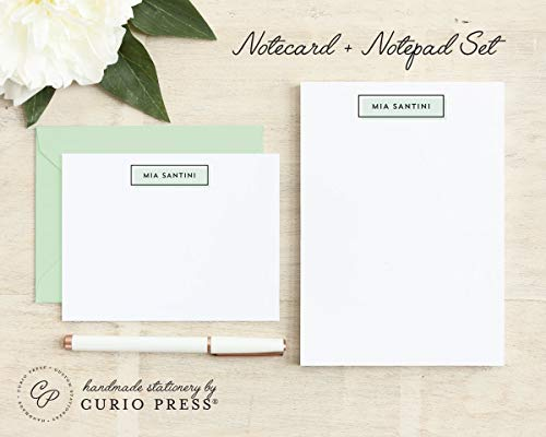 OFFSET / 2 Piece Set/Flat + Pad // Personalized Flat Card and Notepad Stationery/Stationary Set