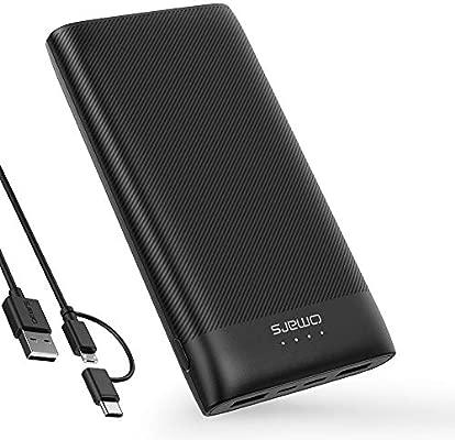 Omars Batería Externa 20000mAh Powerbanck con 3 Salidas (USB C 5V 3A y 2 x USB-A 5V 2.4A), 2 entradas (Tipo C y Micro USB), Cargador Portátil para ...