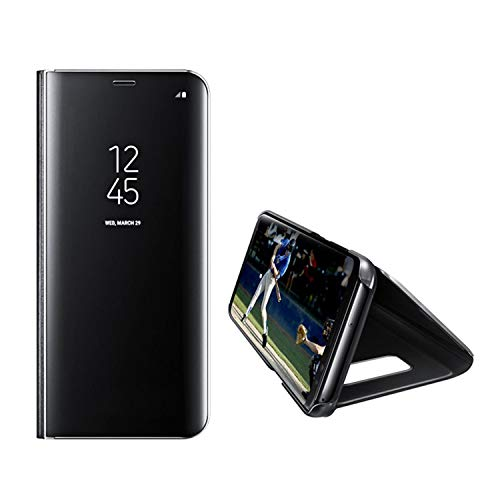 UNIYA Galaxy S10 (2019) Mirror Case, PC+PU Flip Electroplate Mirror 360 Degree Protective Case Cover (Black)