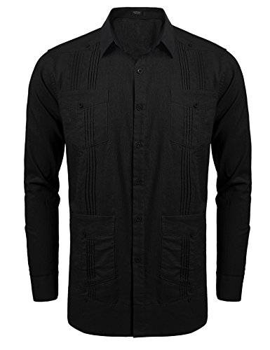 COOFANDY Men's Long-Sleeve Guayabera Cuban Shirt Casual Button Down Shirt Small Black ()