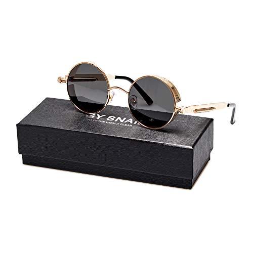 GY snail Gothic Polarized Sunglasses for Men, Round Metal Frame, Retro Steampunk Sun Glasses Women, UV400 Protection Lens (Golden frame/Black lens) (Best Mens Glasses Frames 2019)