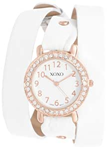 XOXO Women's XO5614  White Double Wrap Rhinestones Bezel Watch