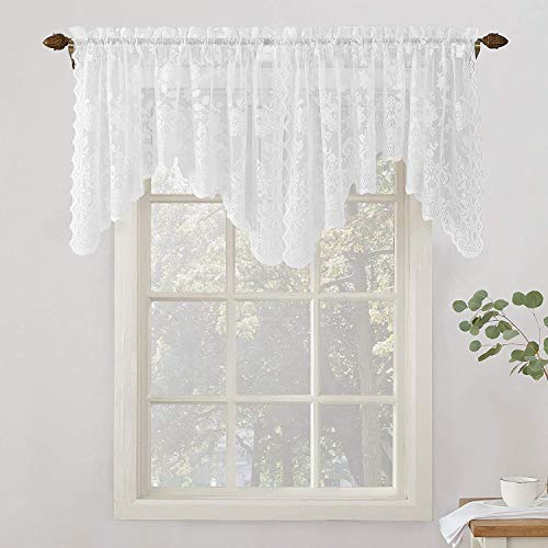 Jody Clarke 1 PC Matching Alison Floral Lace Sheer Valance Rod Pocket White in 58