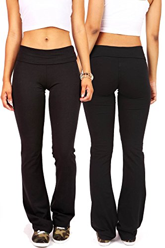 Bundle Pack Ambiance Women's Juniors Foldover Soft and Stretchy Yoga Pants (S, Black & Black)