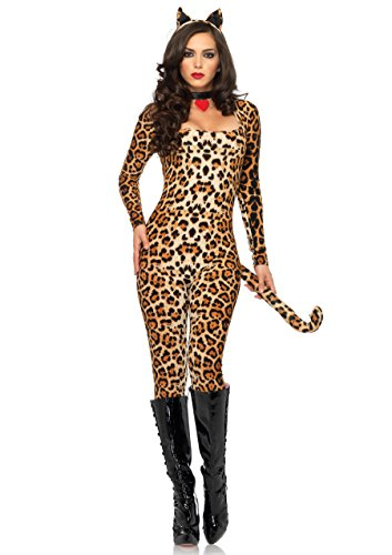 Leopard Bodysuit (Leg Avenue Women's 3 Piece Cougar Catsuit Costume, Leopard, Small/Medium)