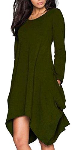 Army Women's Green Dress Long Casual Jaycargogo Irregular Shirt T Sleeve Axw6qwS