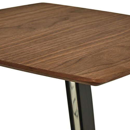 Rivet Industrial Tilted Wood and Metal Side End Table, 17.3 W, Walnut