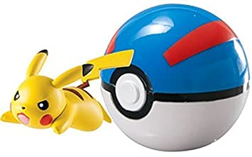 New Pokemon Clip n Carry Pokeball Pikachu & Great Ball Figure Set