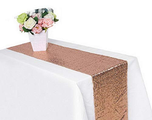 Kaputar 300cm30cm Gold Silver Champagne Sequin Table Runner Sparkly Bling Decor (30180cm, Rose Gold) | Model WDDNG -1235 | 30180cm